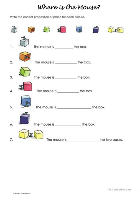 where is worksheet where is the mouse worksheet free esl printable