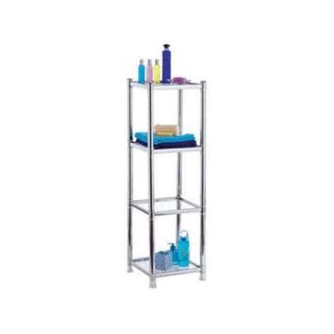 Chrome And Glass Bathroom Shelves Omega Bathroom Chrome Deluxe 4 Tier Rack W Glass Shelves At Plumbing Uk