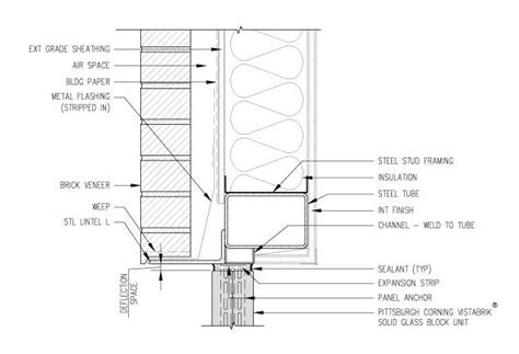 block section metal stud wall detail detail drawings pinterest