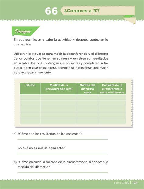 pagina 126 de matematicas 6 grado exolicacion desaf 237 os matem 225 ticos libro para el alumno sexto grado 2016