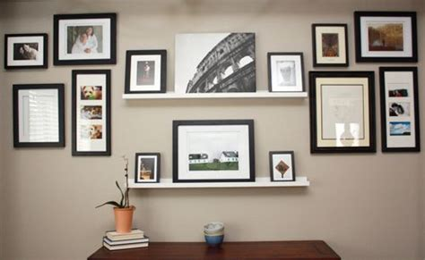 gallery wall but change put shelf in middle and pictures gallery wall with shelves family room pinterest