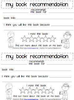 book recommendation cards template classroom freebies student book recommendation form