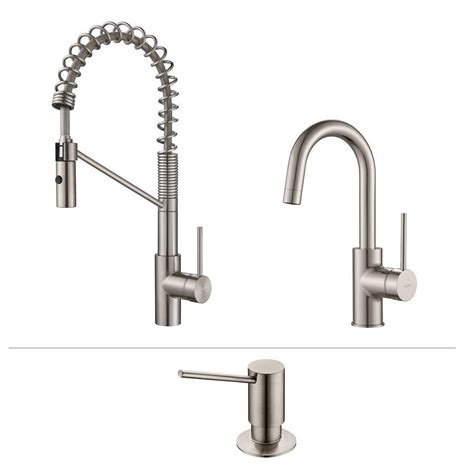 industrial kitchen faucets stainless steel kraus oletto single handle commercial style kitchen faucet and bar faucet with soap dispenser in
