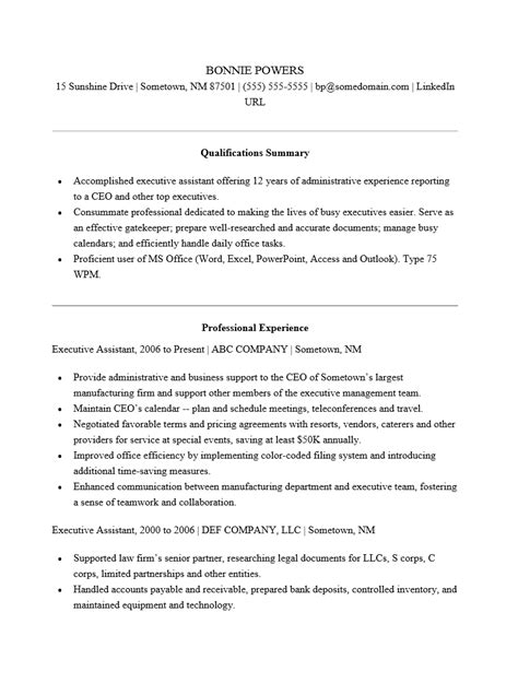 Adobe Pdf Resume Template by Free Executive Administrative Assistant Resume Template