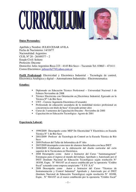 Modelo Curriculum Tecnico Electricista Curriculum Vitae By Julio Cesar Issuu