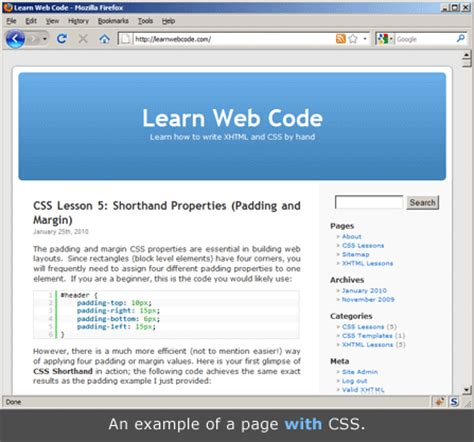html design without css css lesson 1 what is css learnwebcode