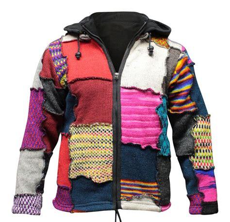 Mens Hippie Patchwork - s tye dye patchwork hippie jacket fleece lined