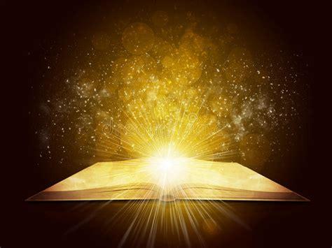 libro dark back of time vecchio libro aperto con luce e le stelle cadenti magiche illustrazione di stock illustrazione