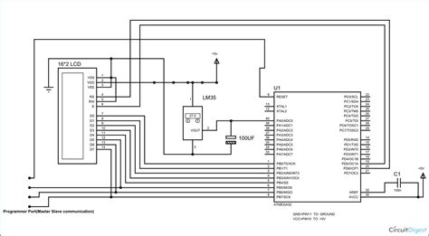 avr pin diagram circuit diagram for avr based digital thermometer using