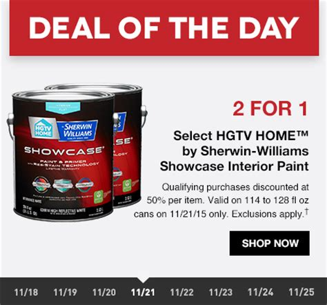 lowes deal of the day 2 for 1 hgtv home paint by sherwin williams milled