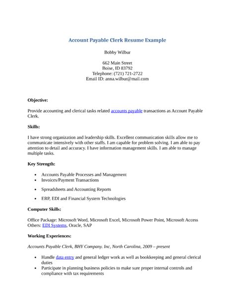 Accounts Payable Clerk Resume by Professional Accounts Payable Clerk Resume Template