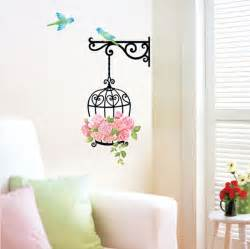 birdcage flowers vinyl wall stickers wallstickery com 72 quot tall large tree wall decals removable birds cage vinyl