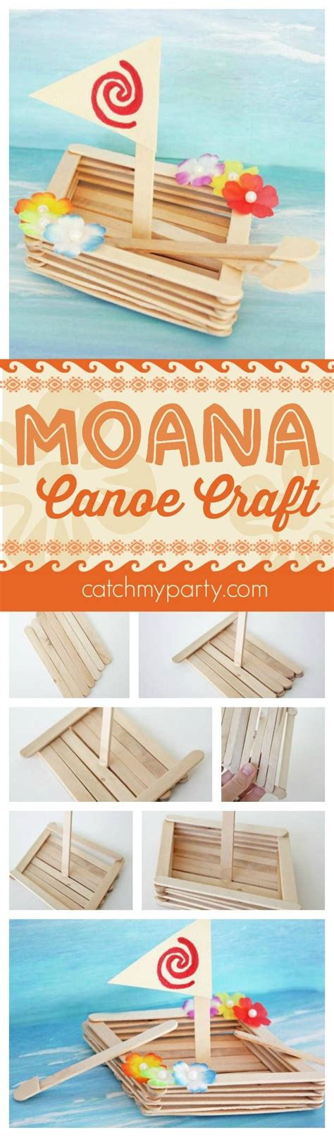 moana boat popsicle sticks fun moana canoe craft perfect for a moana birthday party