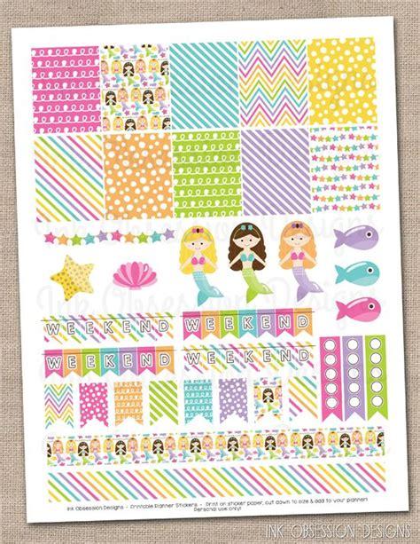 printable mermaid stickers mermaids planner stickers set instant download diy