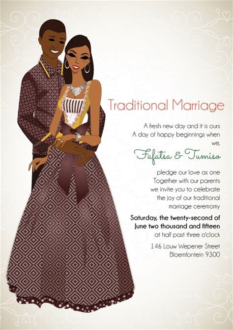 traditional invitation card template south sotho traditional wedding invitation card