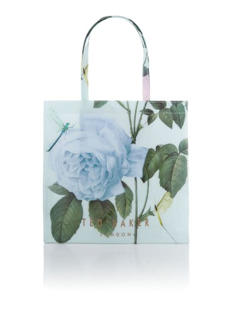 ted baker mint floral print bowcon tote bag in green lyst