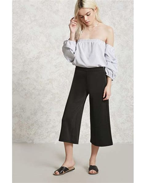 knit culottes forever 21 stretch knit culottes in black lyst