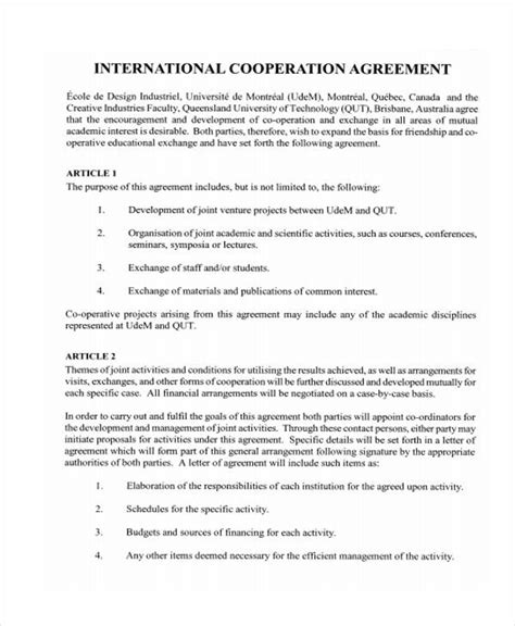 friendship agreement template friendship agreement template 10 cooperation agreement