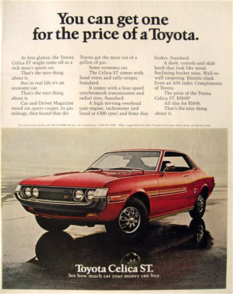 vintage toyota ad 1972 toyota celica st ad for the price of a toyota