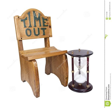 time out chair with timer hour glass next to time out chair royalty free stock
