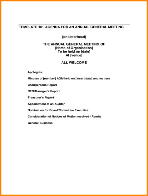 4 agm agenda template report exle