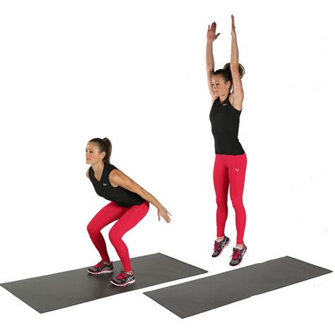 Jumping Up To The Ceiling by Jump Squats 10 Bodyweight For A Toned Tush