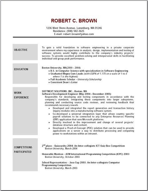 A Resume Example by Good Resume Objectives Student Resume Template Student