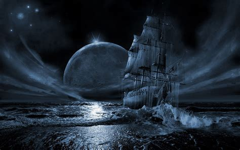 water stars moon ships night time desktop hd