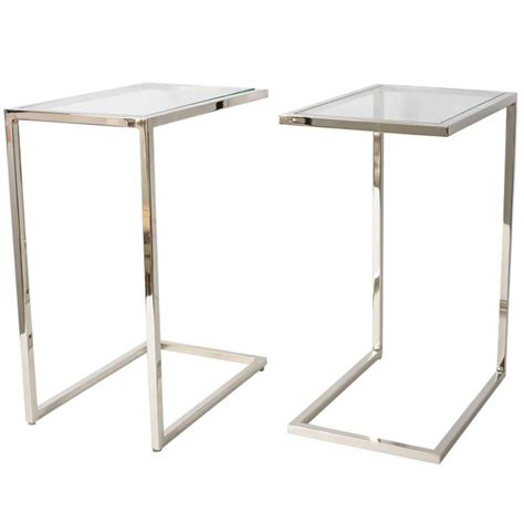 glass sofa side table pair of milo baughman quot thin line quot polished chrome and
