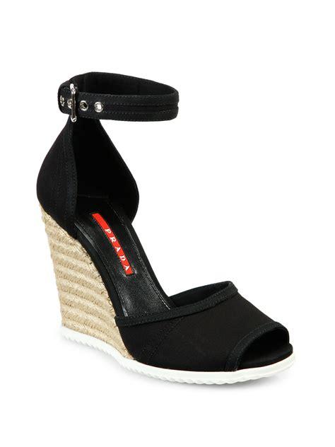 prada canvas espadrille wedge sandals in black lyst
