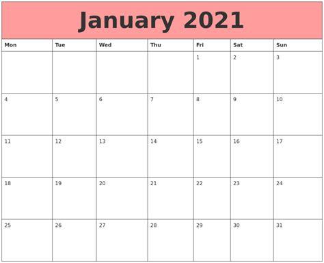 Calendar That Work January 2021 Calendars That Work