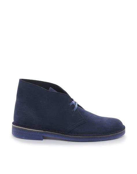 clarks suede desert boots in blue for lyst
