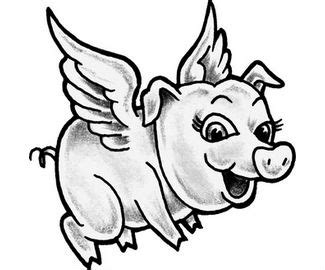 angel winged pig tattoo design