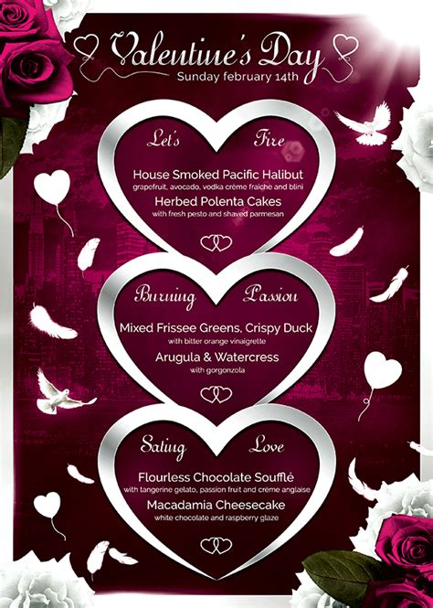 valentines day menu template 4 psd templates store