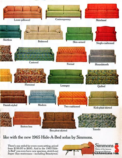 types of sofa with name hide a bed sofa styles 1965 click americana