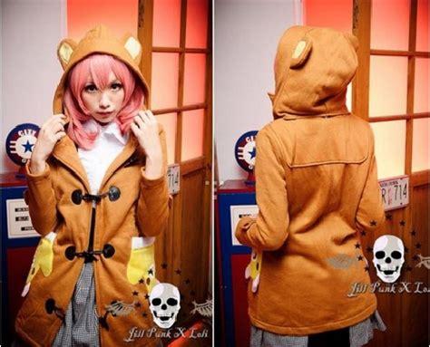 Jaket Hoodie Footprints Panda Pink 1 onlineshopimt jual jaket korea lucu rilakkuma panda musical cat
