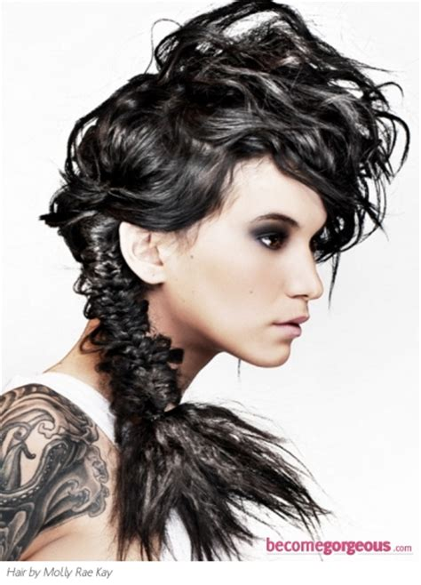 edgy hairstyles for curly long hair pictures long hairstyles edgy braided ponytail hairstyle