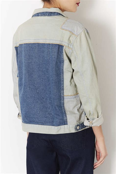 Patchwork Denim Jacket - topshop moto patchwork denim jacket in blue lyst