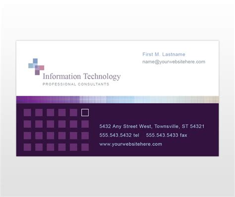 Information Technology Business Card Template by Information Technology Service Consultant Business Card