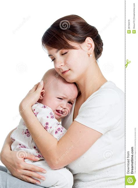 how to comfort a crying woman mother trying to comfort her crying baby isolated royalty