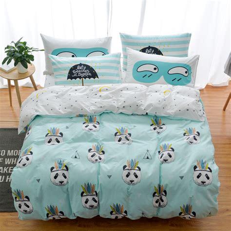 100 Cotton Owl Panda Fox Cat Bedding Set Cartoon Modern Fox Bedding Sets