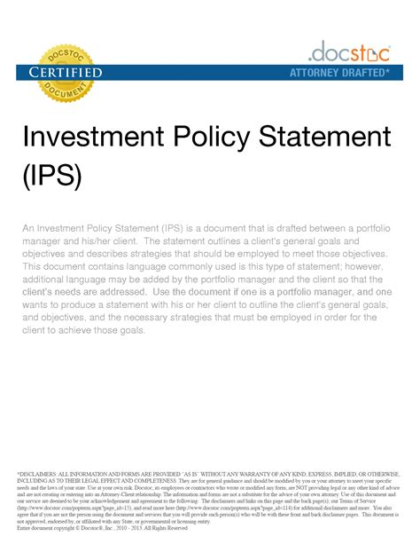 Investment Policy Statement Template investment policy statement sle best template collection