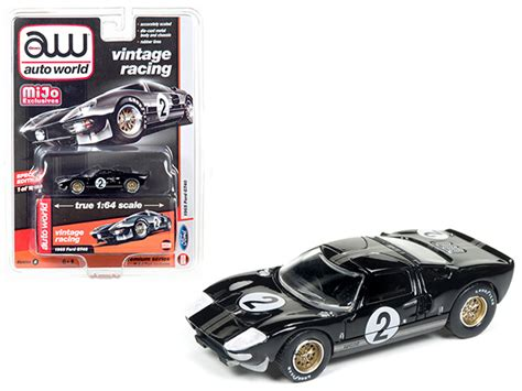 Auto World 1 64 1965 Ford Gt 40 Black Mijo Exclusive New Pre Order 1965 ford gt40 black 2 vintage racing 1 64 diecast model car by autoworld ford cars