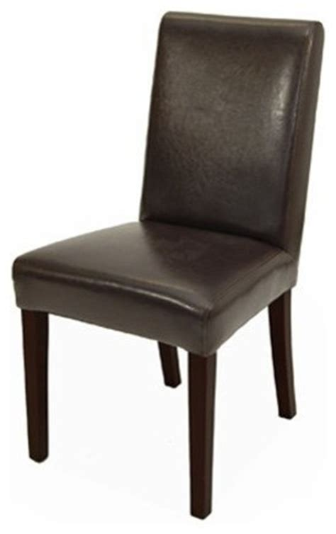 Rv Dining Chairs Rv 0214 Parsons Leather Dining Room Chair In Brown Or Black Chestnut Brown Traditional