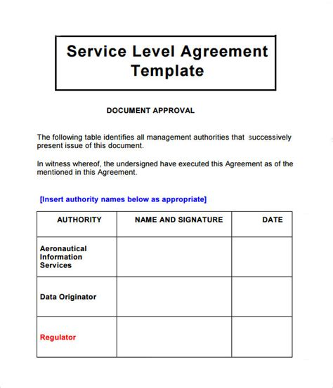Writing Service Level Agreements Logistics Service Level Agreement Template