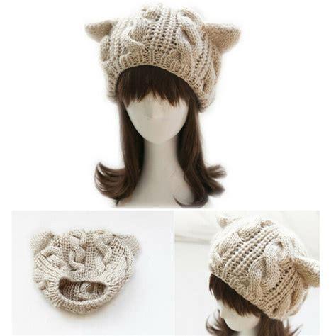 Beige Beanie Cat Ear Wool Hat s hats knitted warm ski crochet slouch hat cat ear