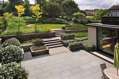 backyard design beautiful town garden black granite stone paving hard