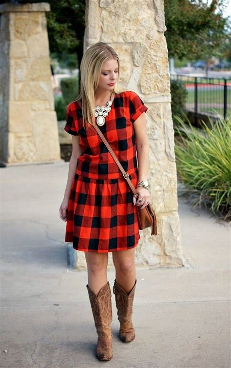 red black check dress cowgirl boots statement