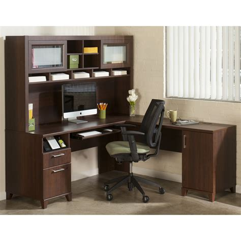 Office Desk With Hutch Bush Office Connect Achieve L Shaped Desk With Hutch Sweet Cherry Desks At Hayneedle