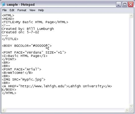 format html tags in notepad html tutorial